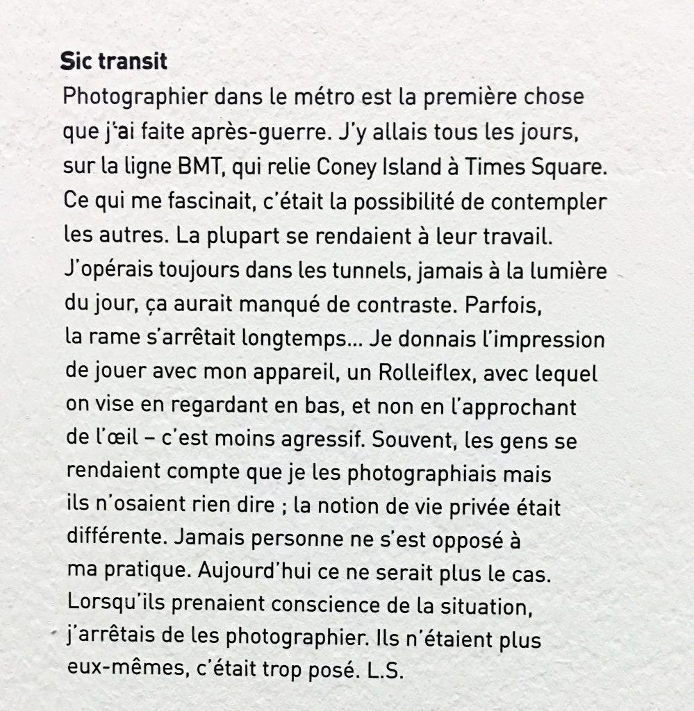 Texte de l'auteur - le métro